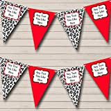 Black White Red Animal Print Personalized Hen Do Night Party Bunting Banner