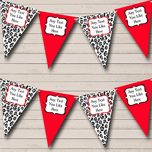 Black White Red Animal Print Personalized Hen Do Night Party Bunting Banner by The Card Zoo