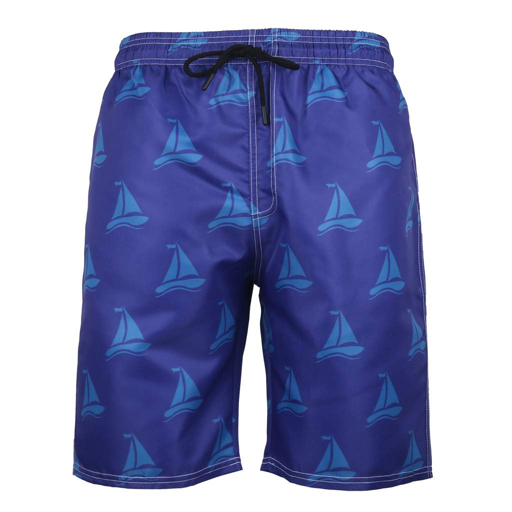 NUWFOR Men's Summer Fashion 3D Printed Shorts Recreational Sports Beach Pants(Blue,US:M Waist32.68'')