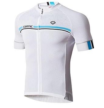 d60779a9c Amazon.com  Santic Men s Summer UPF40+ Short Sleeve White Cycling ...