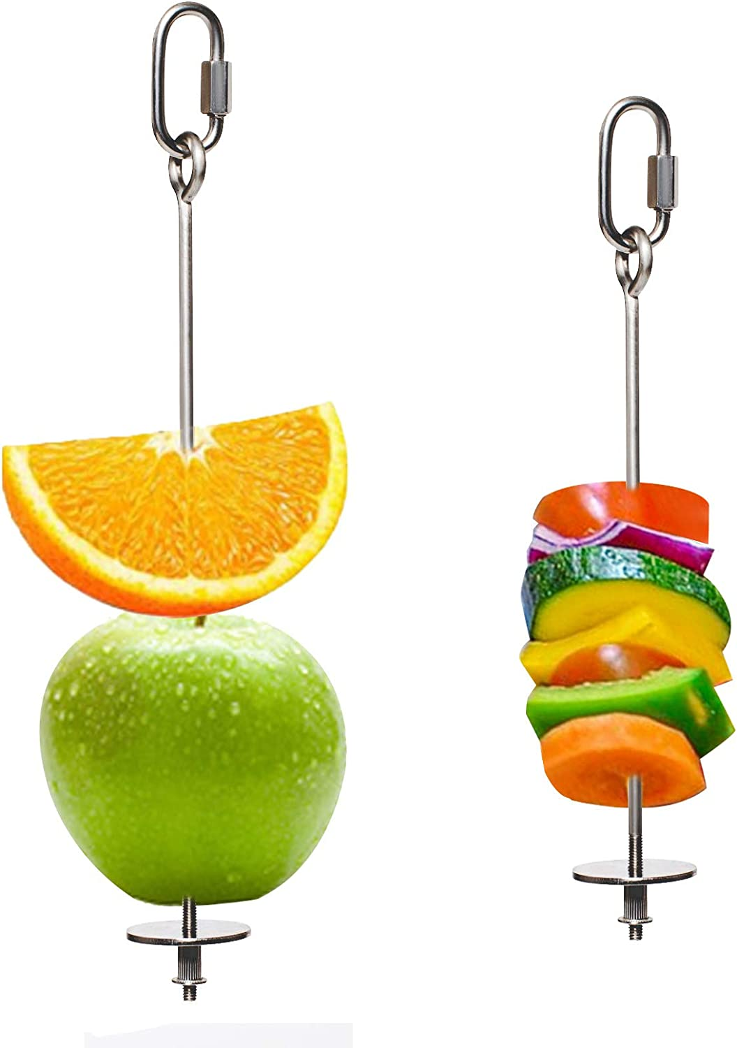 LSSH 2PCS Premium Bird Food Holder, Bird Treat Skewer,Bird Skewers,Bird Feeders, Stainless Steel Parrot Fruit Vegetable Stick Holder, Bird Feeder Toy,Foraging Toy, Bird Food Treat Skewer