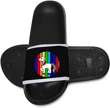 Qujki Kids Rainbow Unicorn Beach Sandal Non-Slip Bath Slipper Black
