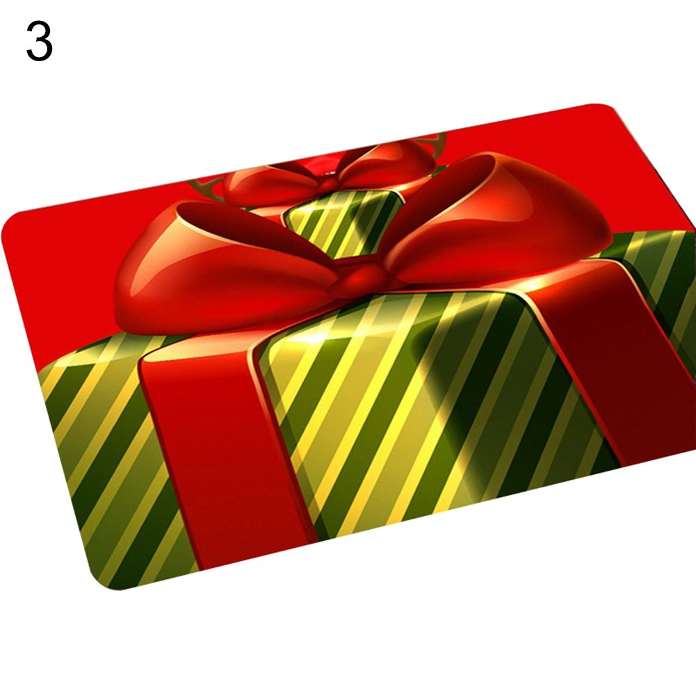 AchidistviQ 40 x 60cm Non-Slip Doormat Christmas Style Santa Claus Kitchen Bathroom Carpet 1#