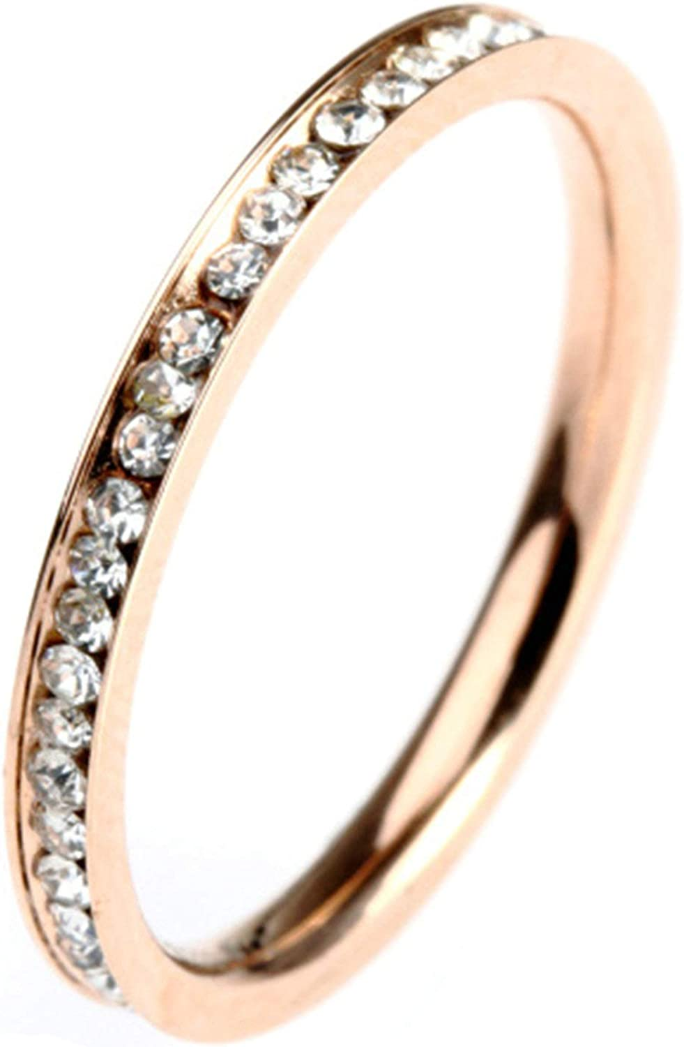 AMDXD Stainless Steel Ring Band Rose Gold Ring Channel Setting Cubic Zirconia Men Biker Ring Vintage