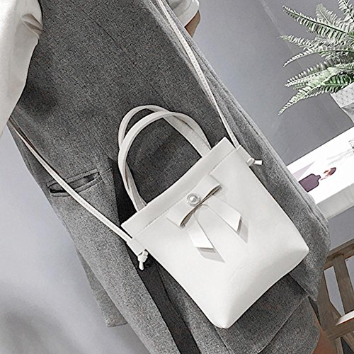 Leather Women Bowknot Simple PU White Messenger Crossbody Handbags Widewing Bag Shoulder 41PxqwF8