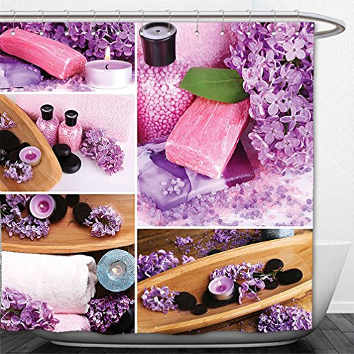 Interestlee Shower Curtain Collection Aromatic Spa with Lilac Petals Fresh Therapy Oils Bath Salt Soap Relax Theme Meditation Collage Violet