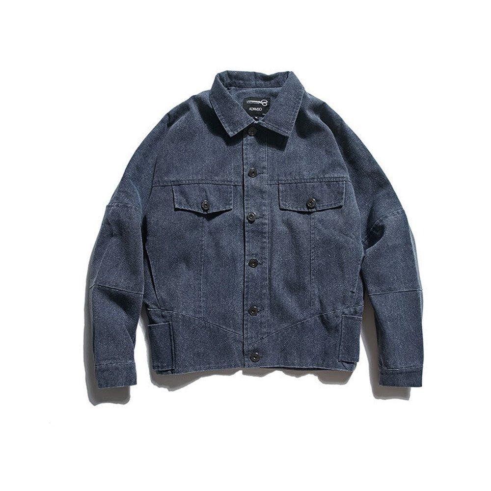 Fjubjv männer - Mode im Mantel für alte ist Retro - Mantel,Jeans, blau,l