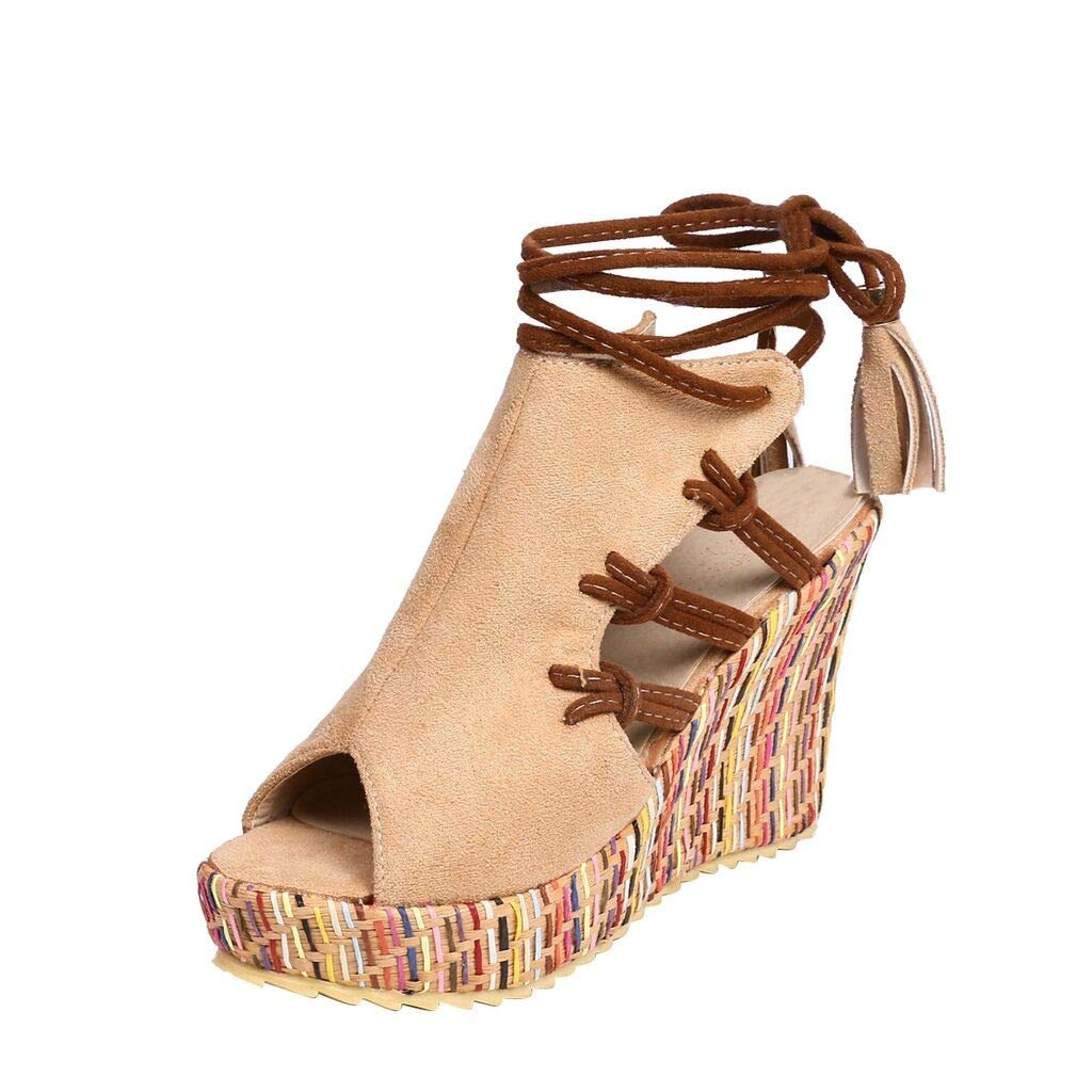 Women Ladies Wedge Heel Sandals Bohemian Ethnic Style Open Toe Colorful Strap Shoes Beige