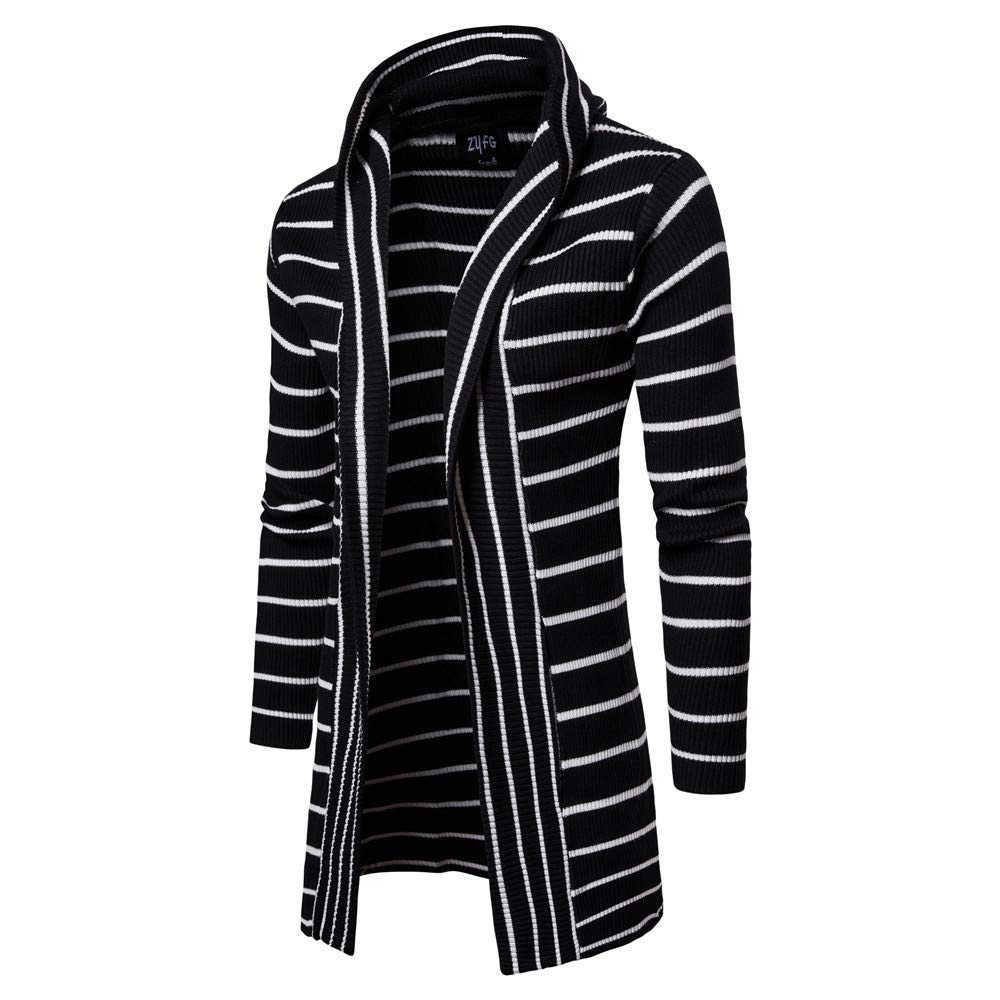 Amazon.com: Easytoy Mens Hooded Cardigan Sweater Coat Thickening Trend Striped Tide Coat Cardigans: Sports & Outdoors