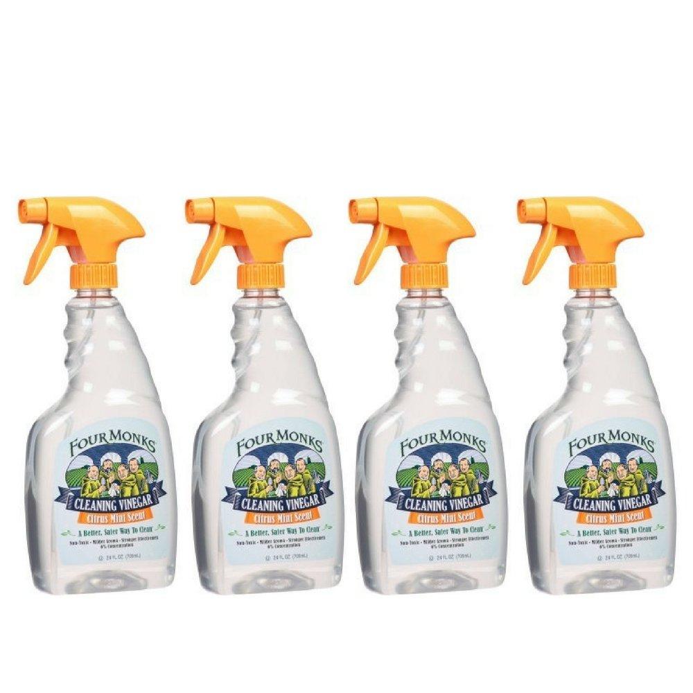 Four Monks Citrus Mint Scent Cleaning Vinegar, 24 fl oz (4 Pack)