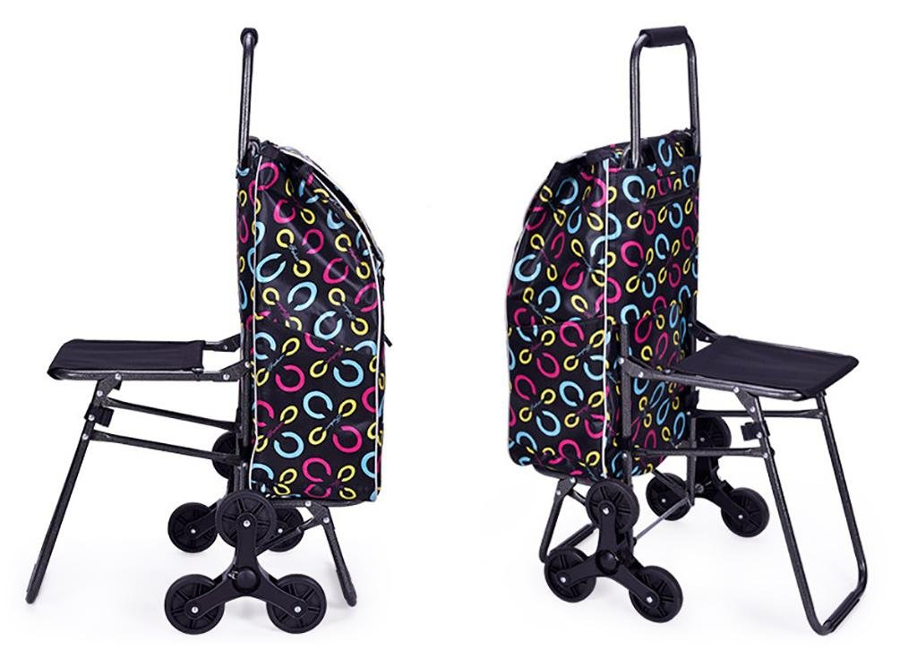 Amazon.com: Trolley Dolly Shopping Cart Lightweight Trolley Folding 6 Wheel Large Capacity Shopper Folding Chair , A: Sports & Outdoors