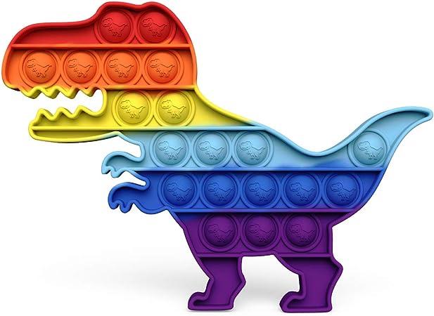 Chrisfishy Push pop pop Bubble Sensory Fidget Toy, Squeeze Sensory Toy,Silicone Stress Reliever Toy for Kids (Dinosaur New)