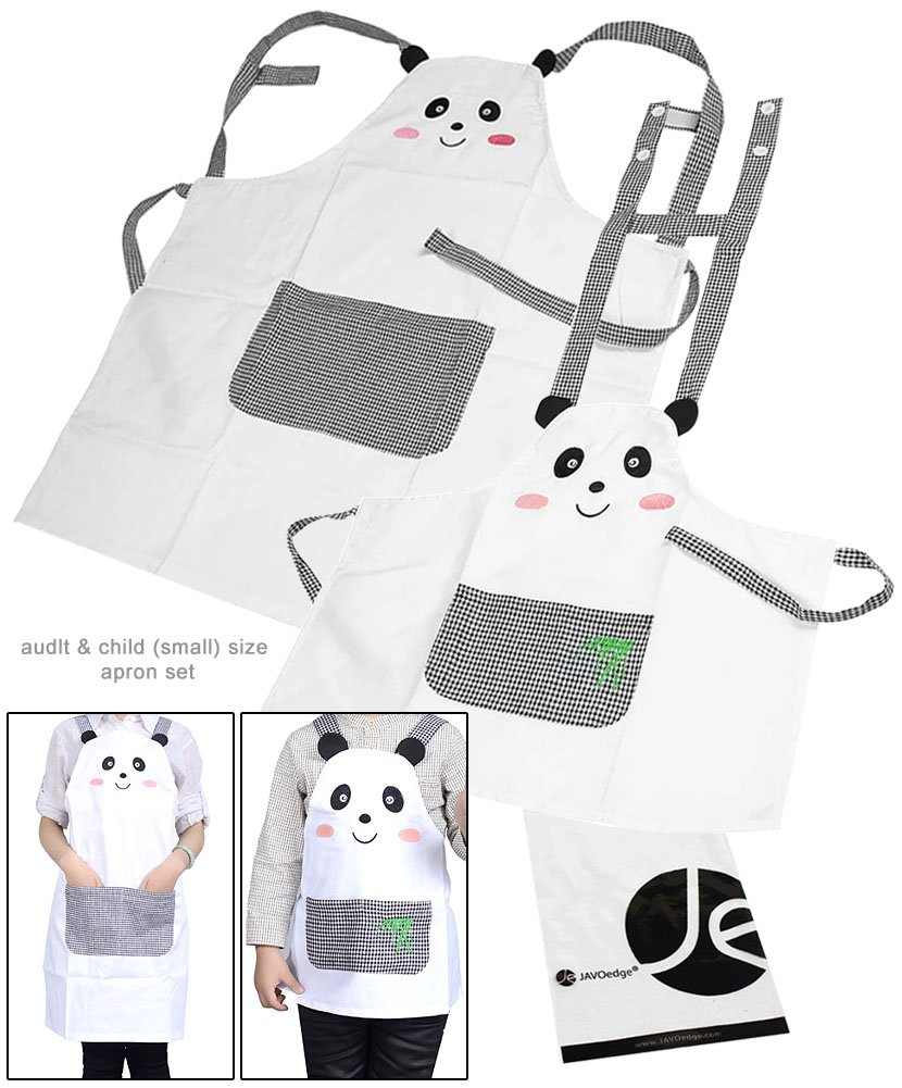 JAVOedge Mommy and Me (2-4 Yrs.) Panda Apron Matching Set for Cooking or Baking Apron With Front Pocket Great Kids Gift