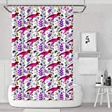 Bright Pink Shower Curtain BOShout Dino 80s Bright Colorful Pink Dinosaurs Shower Curtain Casual Style Lightweight for Bathroom,Printing Bath Curtains