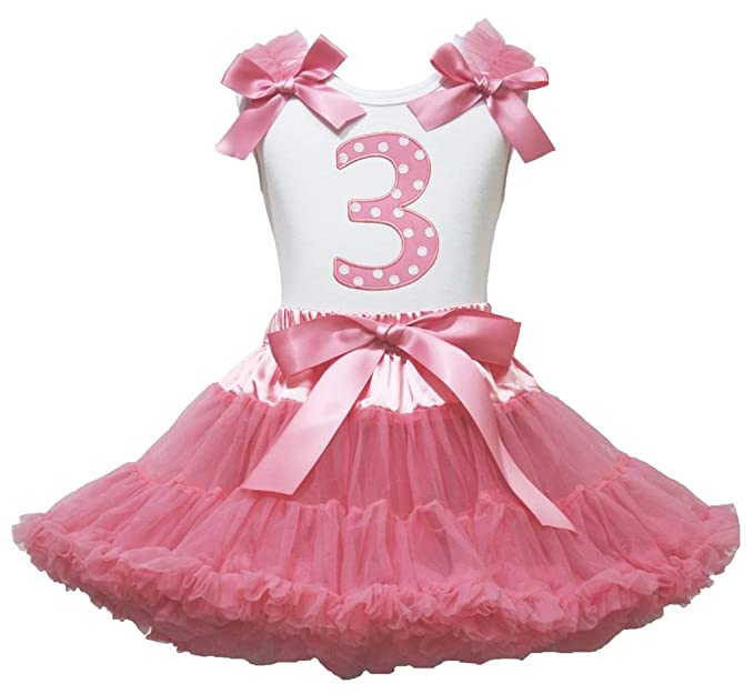 9881d88ff3 Easter 3rd Birthday White Top Dusty Pink Pettiskirt Skirt Set Girl Outfit  1-8y: Amazon.co.uk: Clothing