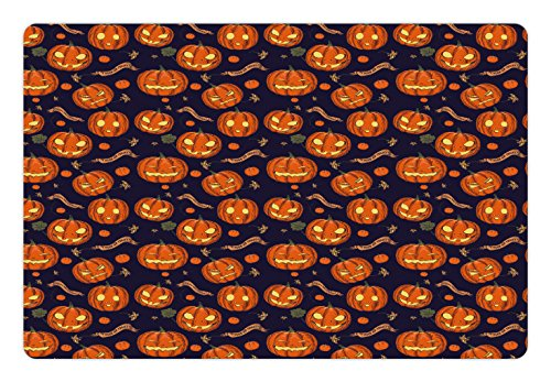 Lunarable Halloween Pet Mat for Food and Water, Pumpkins Pattern Different Face Expressions Happy Angry Scary Puzzled, Rectangle Non-Slip Rubber Mat for Dogs and Cats, Orange Indigo (Different Halloween Pumpkin Faces)