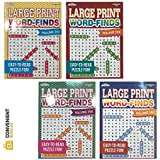 Word Search Puzzle Book Bundle (4-Pack Bundle) Easy-to-Read Large Print | 80 Challenging Searching Games Each | Men, Women, Adults, Seniors | Less Eye Fatigue & Strain