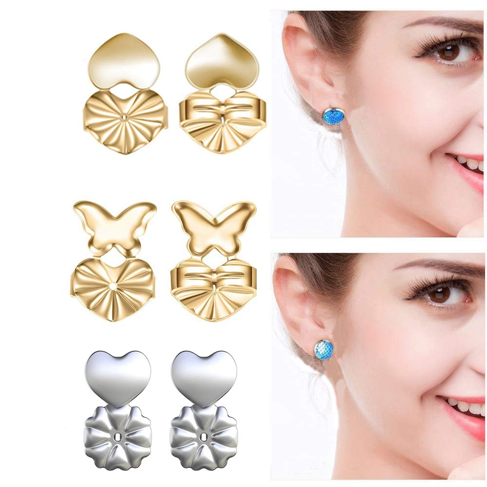 3 Pairs Magic BAX Earrings Backs Lifters Hypoallergenic Security Earring Support Lifts Adjustable Earring Stud Back Jewelry Accessories for Women and Girls (2 Golden + 1 Silvery) Bomach