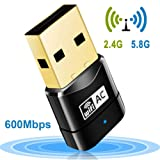 Wifi Dongle, 600Mbps 802.11ac Dual Band 5GHz Mini Wireless Network USB Wifi Adapter for PC Desktop Laptop Tablet, Support Windows 10/8/7/Vista/ Linux /XP/2000, Mac Os X 10.4-10.11.4 and 10.12.1