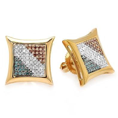 5ec5b1a1e Amazon.com: Dazzlingrock Collection 0.33 Carat (ctw) 10k Blue, White & Red  Round Diamond Micro Pave Setting Kite Shape Stud Earrings 1/3 CT, Yellow  Gold: ...