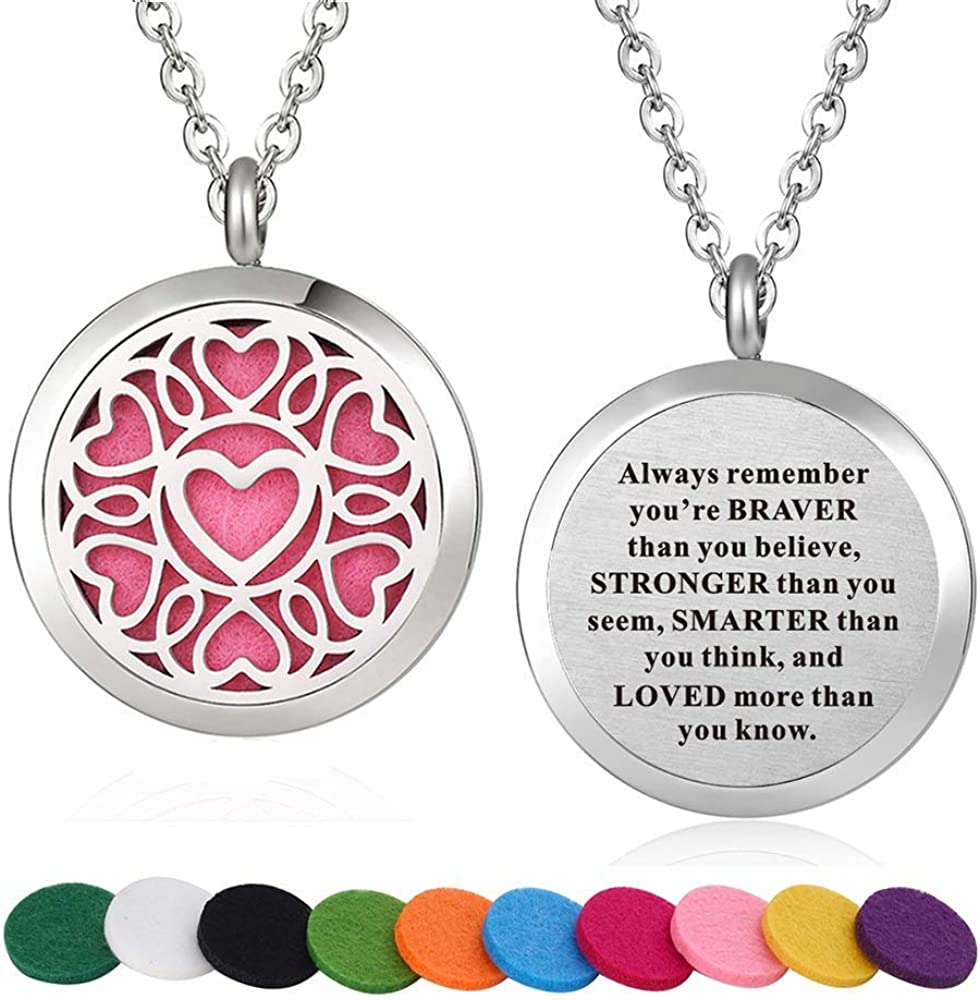 Essential Oil Lover Gift Idea Heart Locket Mothers Day Gift Idea Bridesmaid Gift Scroll Heart Stainless Steel Aromatherapy Locket