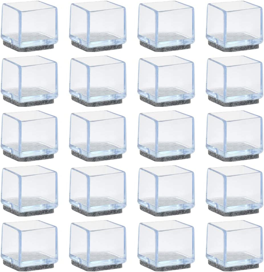 YANSHON 20 Pack Chair Leg Floor Protectors, 1 Inch Square Table Leg Protectors Silicone Chair Leg Caps with Felt Pads for Hardware (Clear)