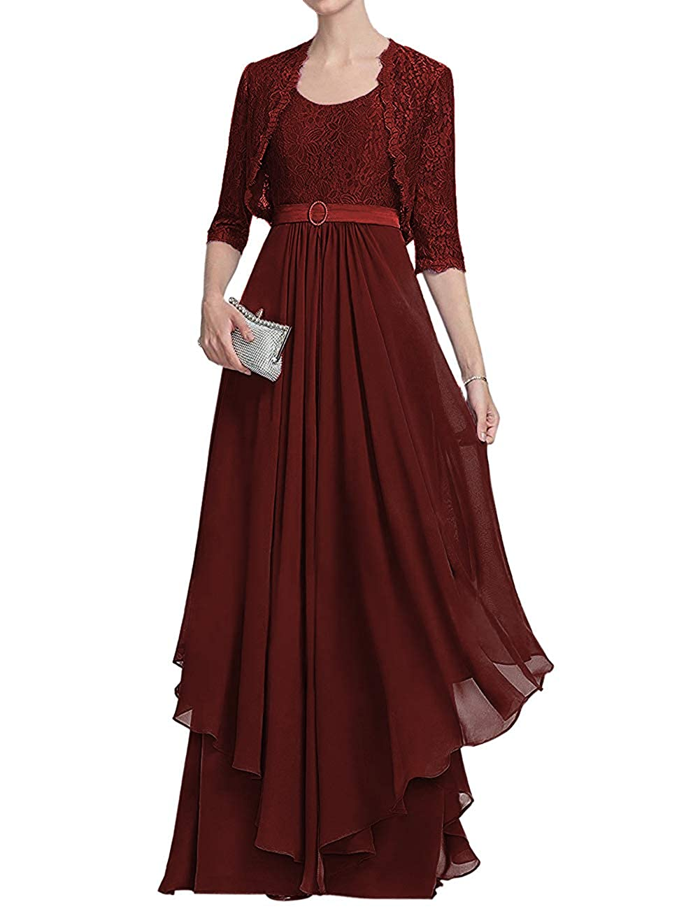 Dark Burgundy H.S.D Mother of The Bride Dresses Lace Formal Gowns Long Evening Dress Jacket Ruffles