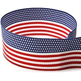 """3/8"""" American Flag Striped Grosgrain Ribbon - 100 Yards - USA Made - (Multiple Widths & Yardages Available)"""