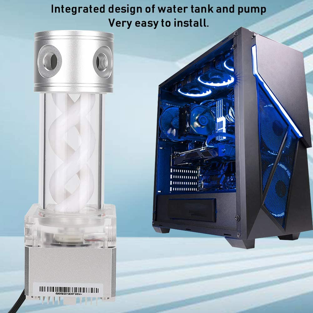 Yoidesu Water Cooling Tank Kit,800L//H CPU Cooling Cylinder Pump System,Water Cooling Pump Reservoir,T Virus Cylindrical Cooler Tank for Computer Water Cooling System Black