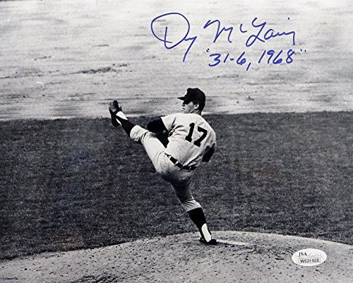 Mclain Detroit Denny Tigers (Autographed Denny Mclain 31-6 1968 Signed Detroit Tigers 8x10 Photo B&W Pitching Photo- JSA Certified)