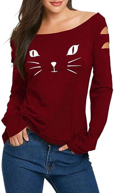K-youth Manga larga camisa de la impresión del gato blusa ocasional tapas delgadas atractivas blusas para Mujeres Red S