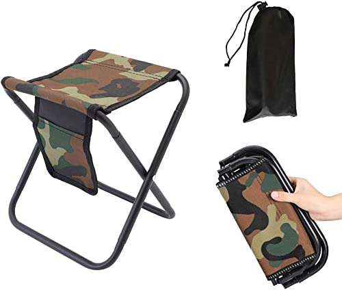 MingSo Mini Portable Folding Stool, Camping Fishing Stool for Adults Fishing Hiking Gardening and Beach with Carry Bag, Hold Up to 450lbs Camouflage
