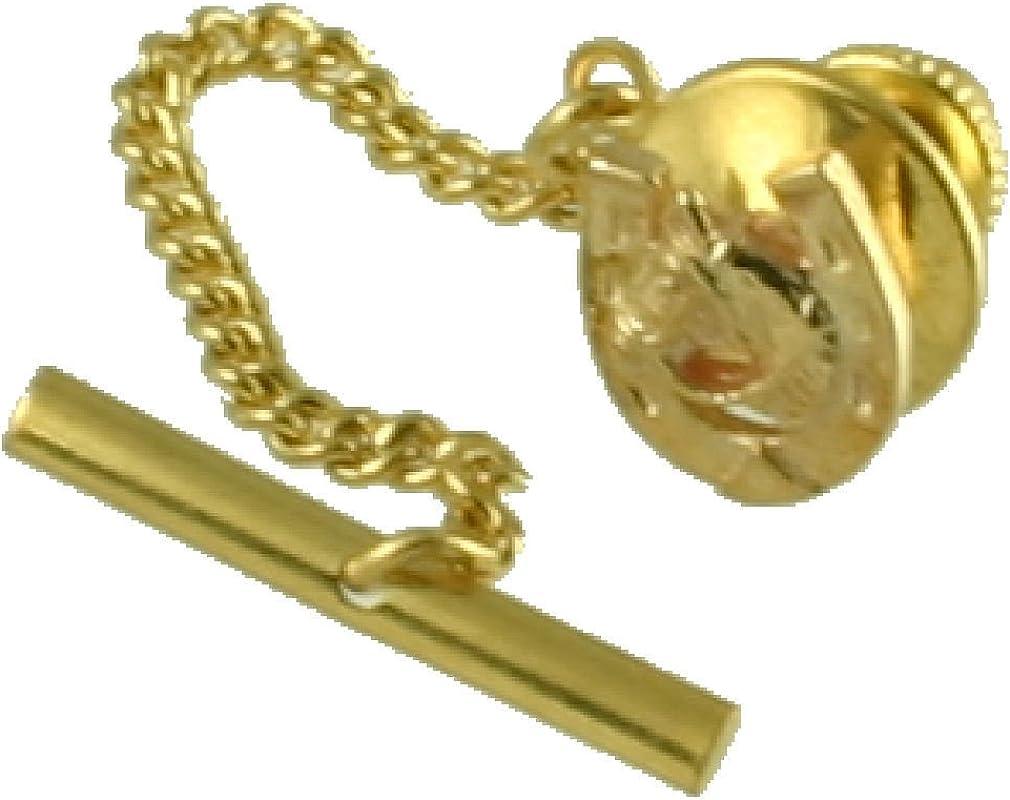 Select Gifts Tachuela Empate de oro 9ct Cabeza de caballo en herradura cuadro Grabado personalizado