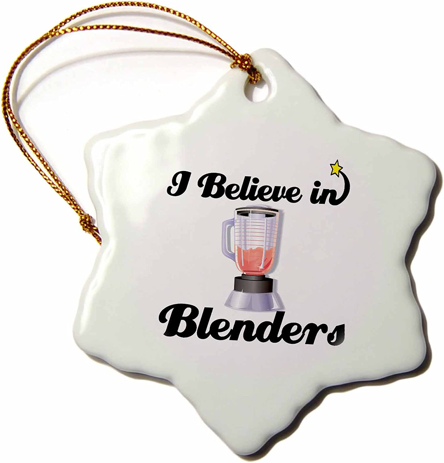 3dRose ORN_104836_1 I Believe in Blenders-Snowflake Ornament, Porcelain, 3-Inch