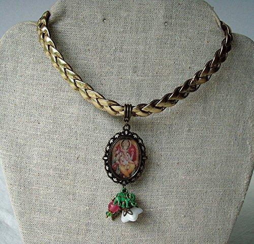 Ganesha Necklace Gold Leatherette Braid Choker ()