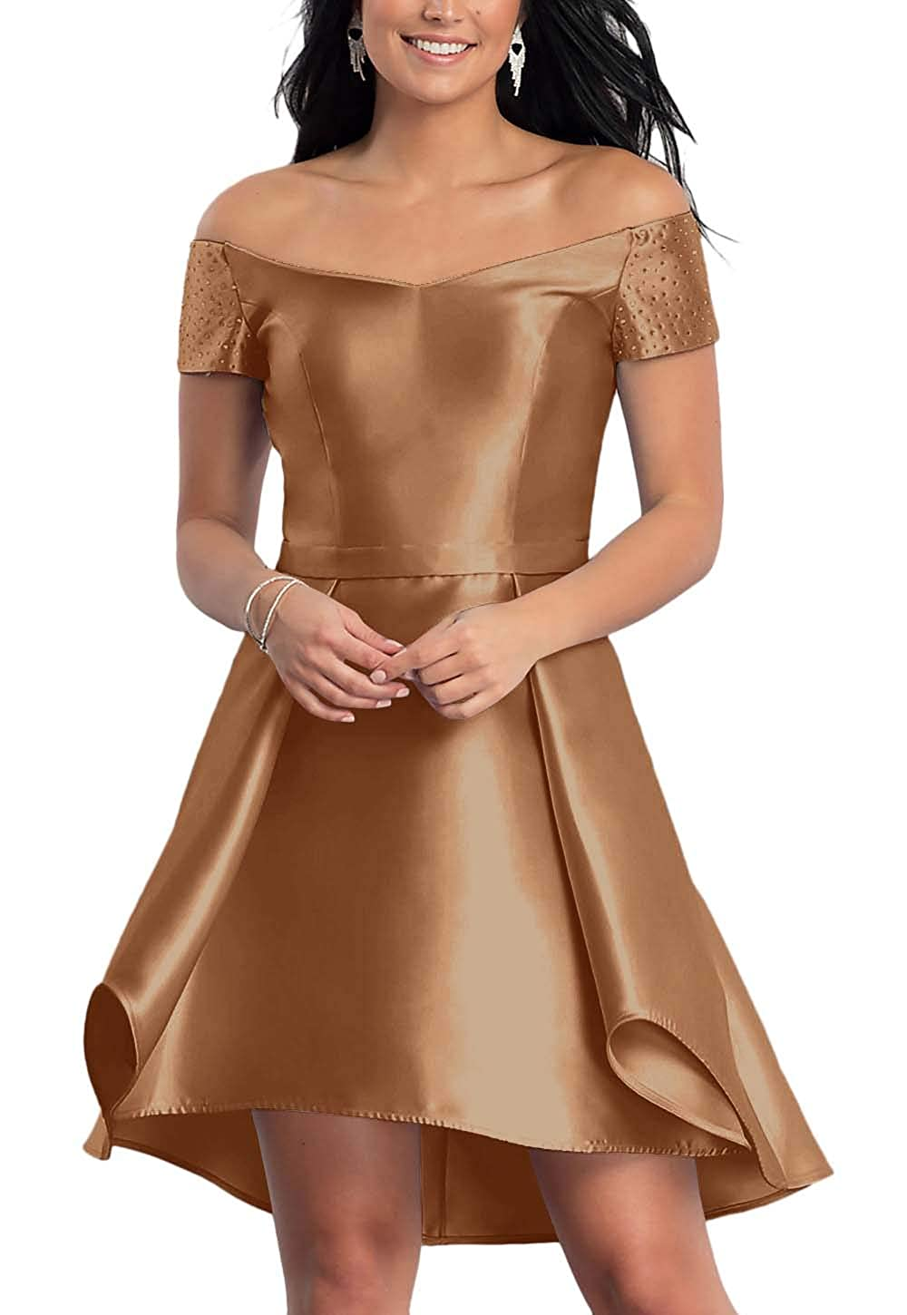 Light Brown FeiYueXinXing Satin HighLow Short OffTheShoulder Homecoming Dress for Juniors with Pockets