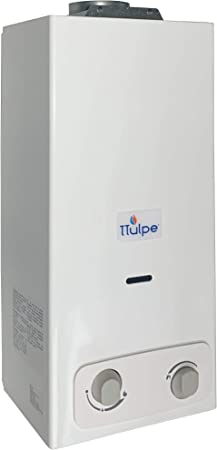 TTulpe B-6 P37 Eco - Calentador a gas propano/butano (1,5 V), color blanco, 6 litros