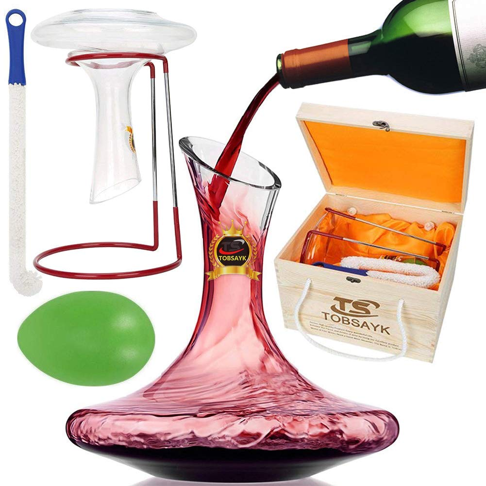 TOBSAYK Wine Decanters with Drying Stand, 1800ML Wine Carafe, Hand Blown 100% Lead-Free Crystal Glass Decanting Aerator, Wine Gift, Wine Accessories, Perfect for Drinker/Wine Lovers
