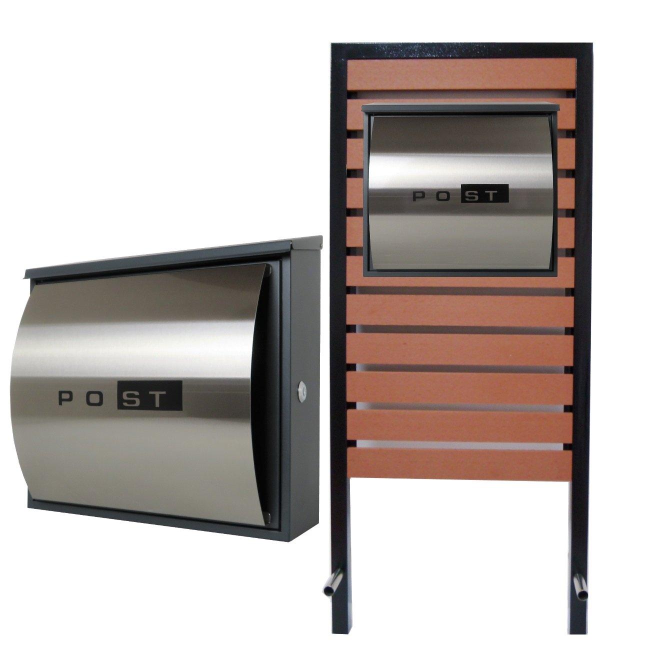 郵便ポスト スタンド付壁掛け鍵付きマグネット付きシルバーステンレス色 pm18s-pm361 B078JQSJ7S 24880