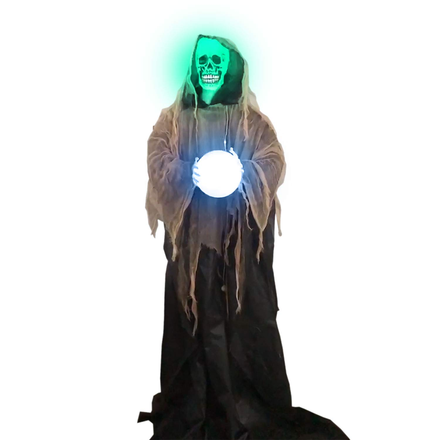 Halloween Haunters Animated Standing 6 Foot Sonic Strobe Skull Reaper with Magic Crystal Ball Prop Decoration - Strobing Green Light Skeleton Head, Flashing Light Up Crystal Ball - Battery Operated