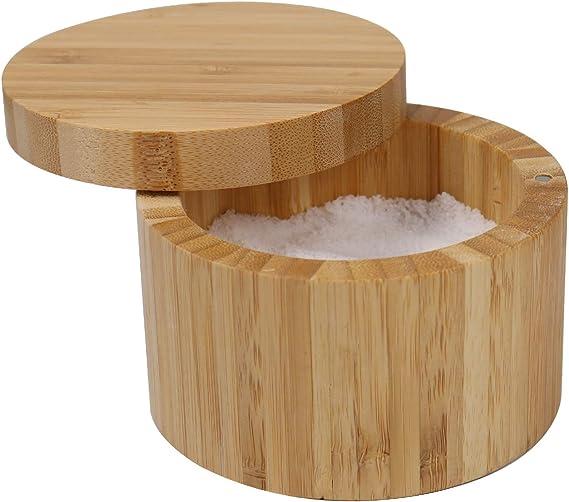 Salt Box para el hogar y la cocina caja de almacenamiento de bamb/ú con tapa giratoria magn/ética