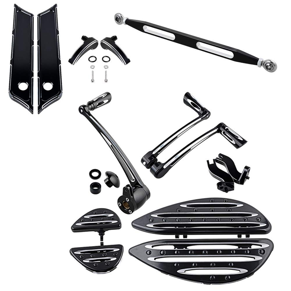 Full Set Black Front Rear Floorboard w//Passenger Mount Kit Brake Arm Pegs Pedal Toe Heel Shift Lever Shifter Peg Gear Linkage Saddlebag Latch Cover Lid Lifter Compatible with 2014-2016 Harley Touring