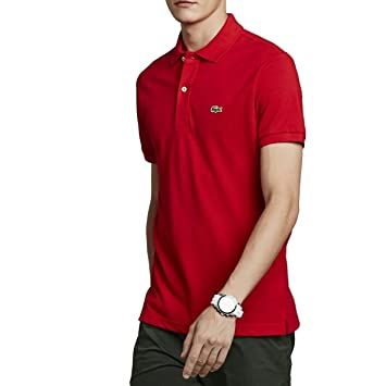 9be97bdd1 Lacoste PH5001 240 Slim Fit Polo Shirt Fine Piqué Knit Red Rot (Rouge) Size