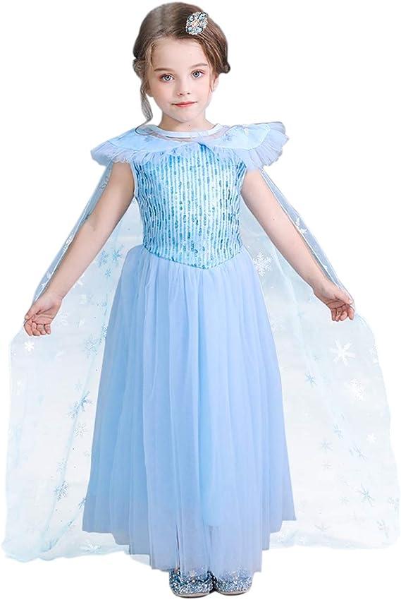 Vicloon Disfraz de Princesa, Vestido de Princesa Elsa con Capa ...