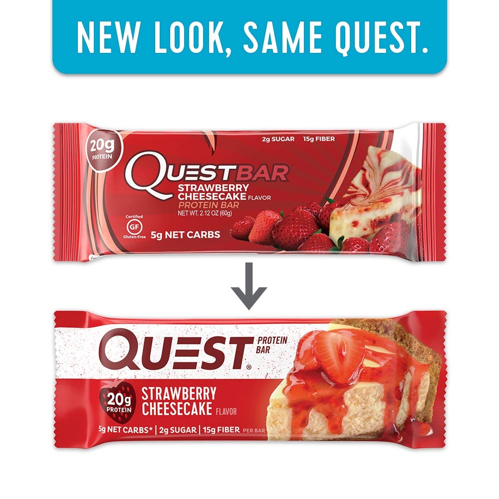 Quest Nutrition Strawberry Cheesecake Protein Bars - Pack of 12 Protein Bars: Amazon.es: Salud y cuidado personal