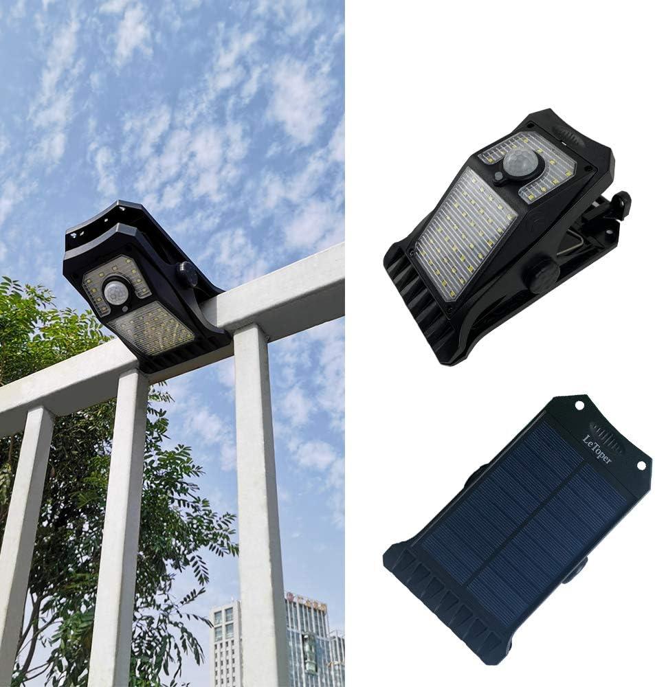Solar Lights Outdoor Camp Light LeToper 45 LEDs Motion Sensor Outdoor Clip Lights, 3 Modes 3 Mounting Ways Wireless Waterproof Safety Lights for Garden Outside Solar Porch Lights 2 Pack