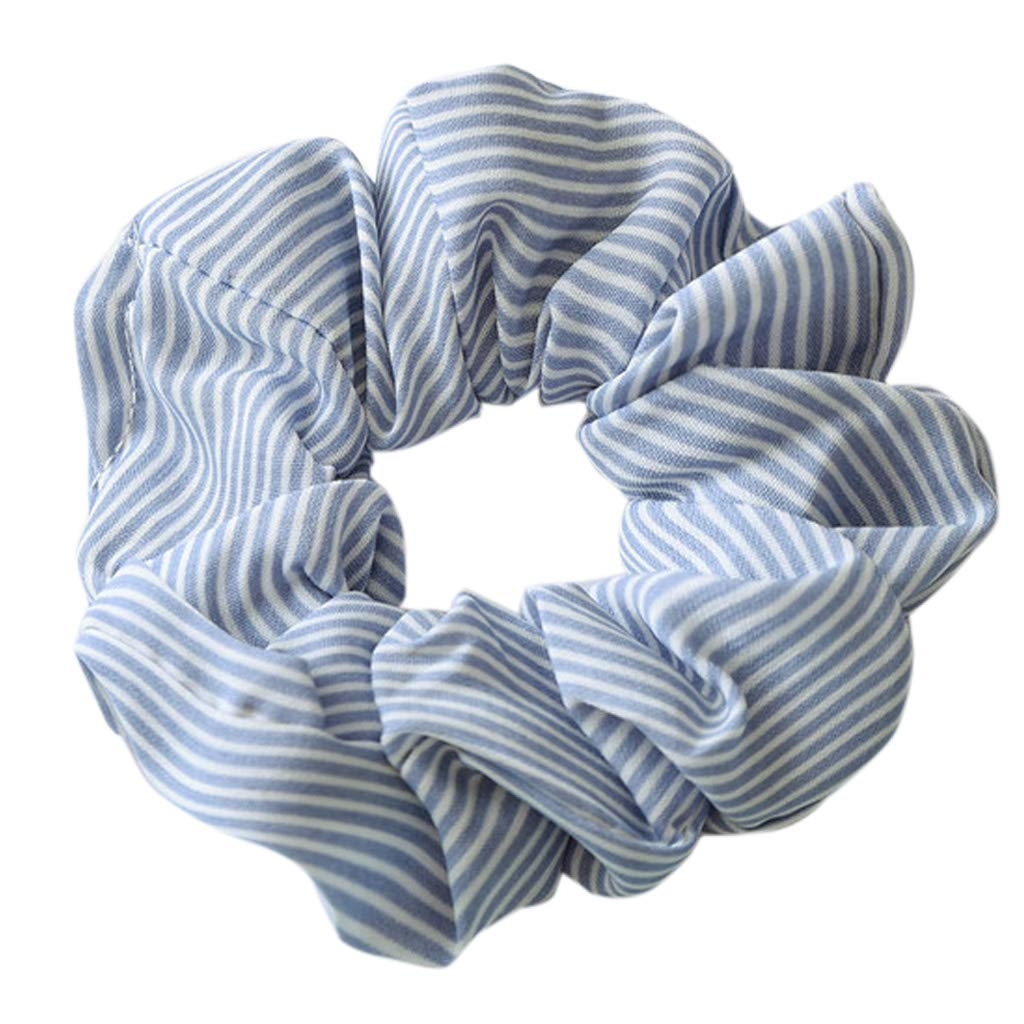 Lamdoo Women Elasticity Scrunchie Striped Candy Color Ponytail Holder Hairband Rope Tie——Light Blue