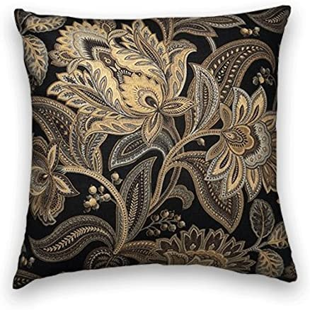 Cody and Cooper Designs Black Gold Floral Decorative Throw Pillow Cover