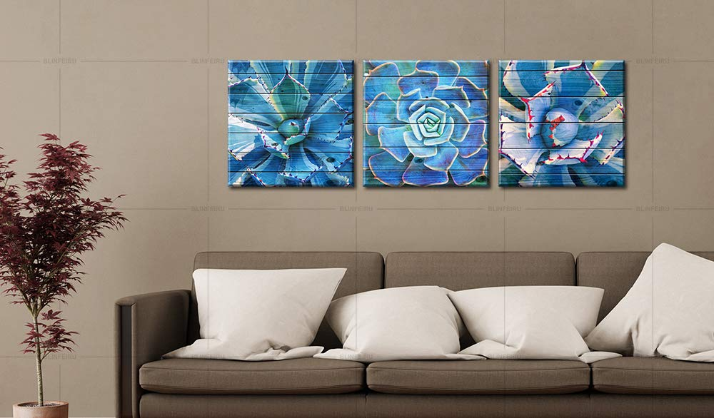BLINFEIRU Home Decor Canvas Wall Art Succulent Plants Teal Agave Plant Leaves Ideal for Nature -Themed Living Room Bedrooms – Built-in Frame Ready to Hang 16×16 inch x 3