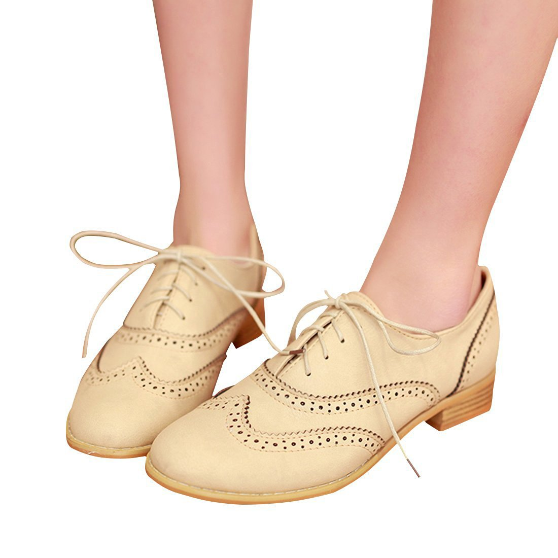c6ae3f705416 Susanny Women Classic Modern Sweet Low Heel Lace up Carving Wingtip ...